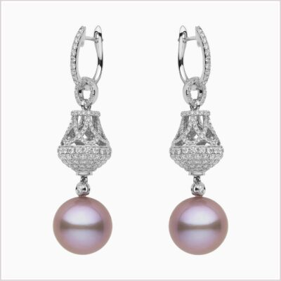Yoko Radiant Orchid Diamond and Pink Freshwater Pearl Earrings