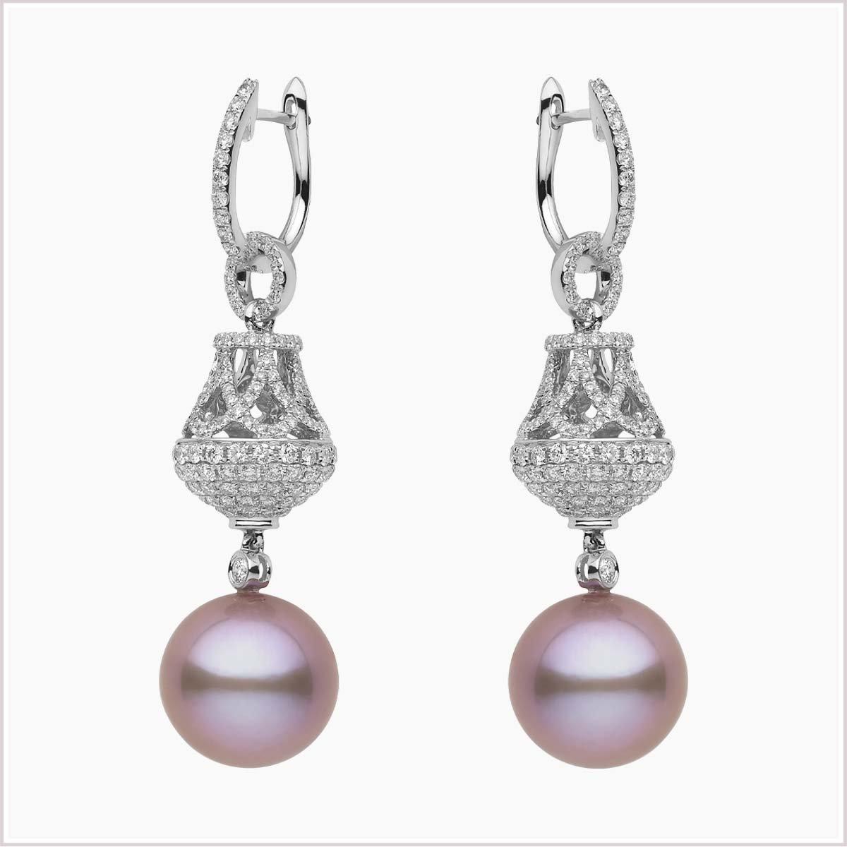 Yoko Radiant Orchid Diamond and Pink Freshwater Pearl Earrings