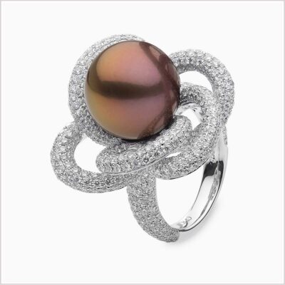 Radiant Orchid Diamond and Freshwater Pearl Ring