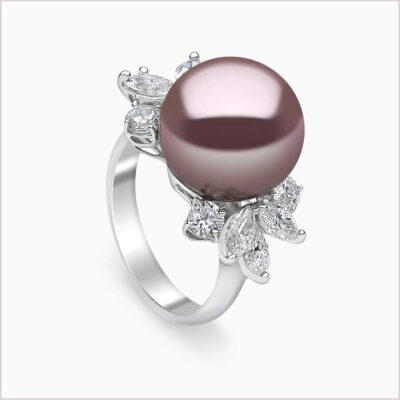 Yoko London Radiant Orchid Diamond and Pink Freshwater Pearl Ring