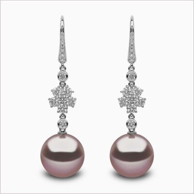 Radiant Orchid Diamond and Pink Freshwater Pearl Earrings