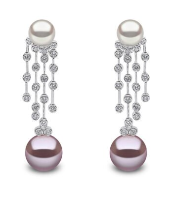 Violetta diamond, Freshwater Pearl and South Sea Pearl Earrings