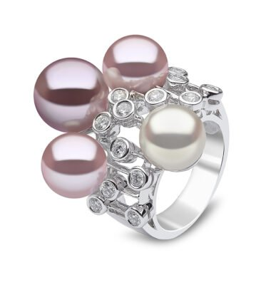 Violetta diamond, Freshwater Pearl and South Sea Pearl Ring