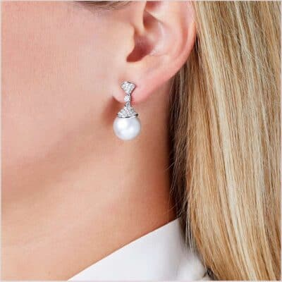 """<span id=""""product-title"""">MAYFAIR </span><br><span id=""""product-description"""">SOUTH SEA PEARL AND DIAMOND EARRINGS IN 18CT WHITE GOLD</span>"""