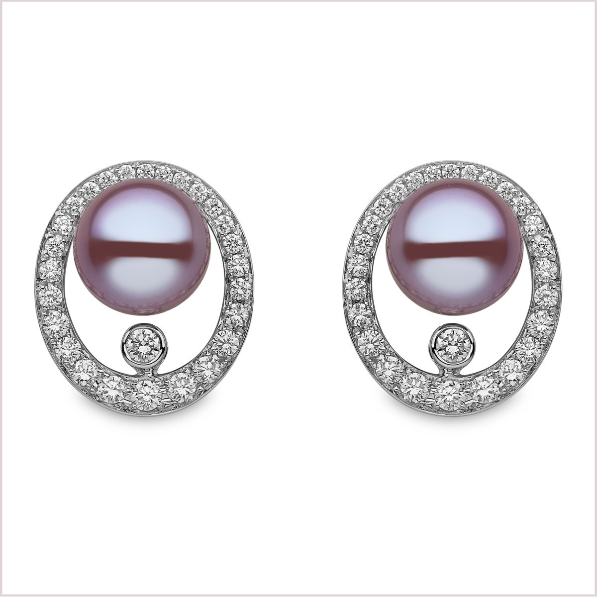 Radiant Orchid Diamond and Freshwater Pearl Earrings