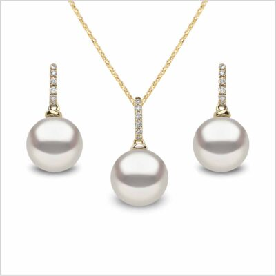 Yoko London Classic Freshwater Pearl and Diamond Pendant and Earring Set