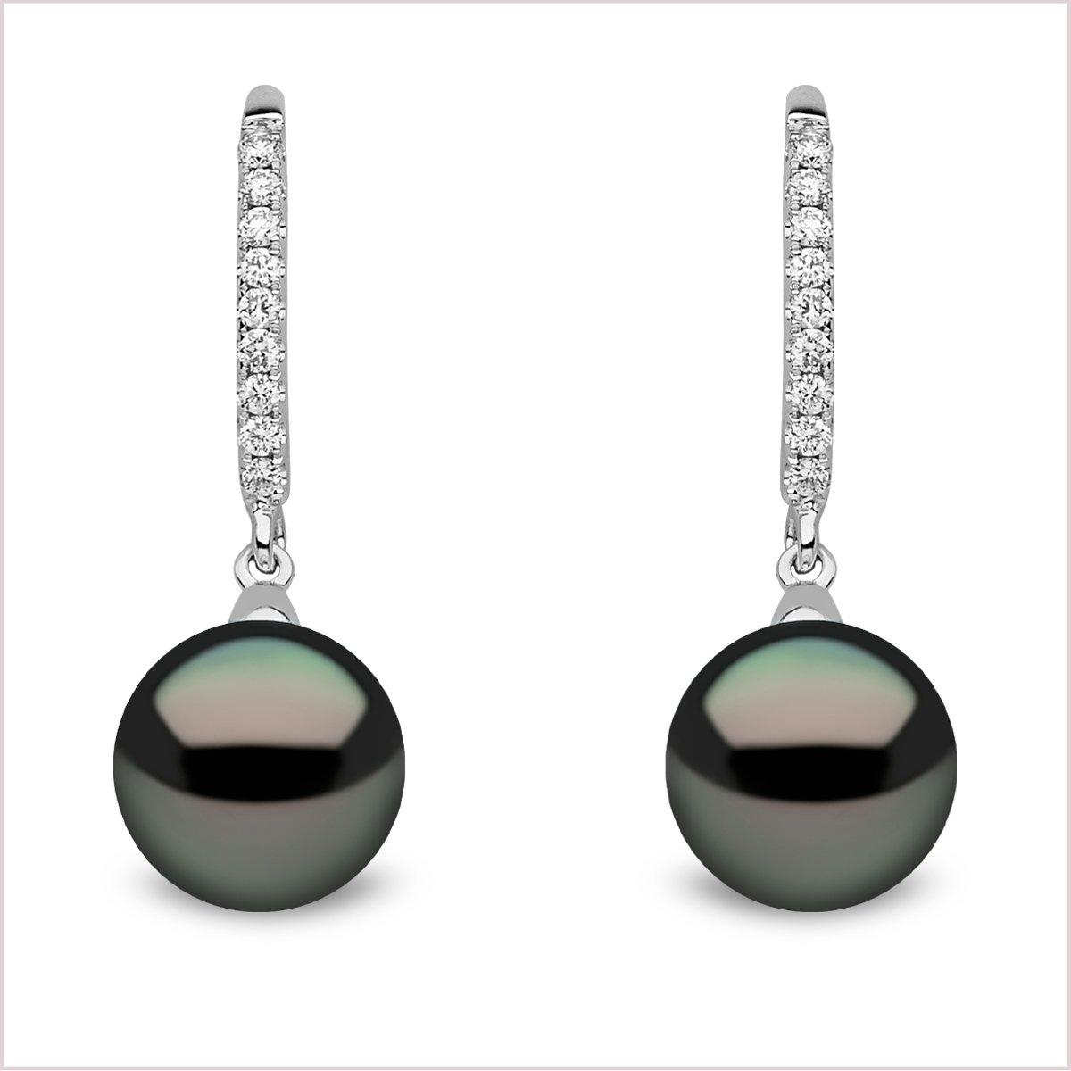 Yoko London Classic Tahitian Pearl and Diamond Earrings