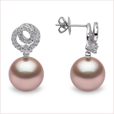 Yoko London Radiant Orchid Pink Freshwater Pearl and Diamond Earrings