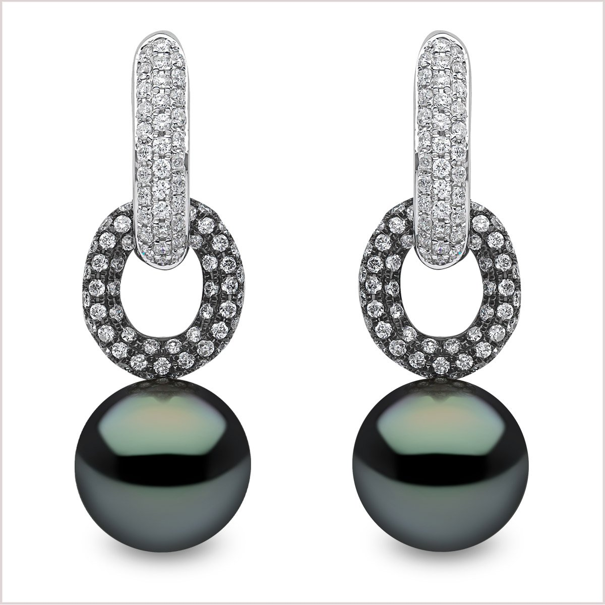 Yoko London Novus Diamond and Tahitian Pearl Earrings
