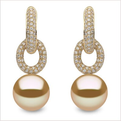Yoko London Novus Diamond & Golden South Sea Pearl Earrings