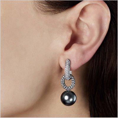 Yoko London Novus Diamond and Tahitian Pearl Earrings