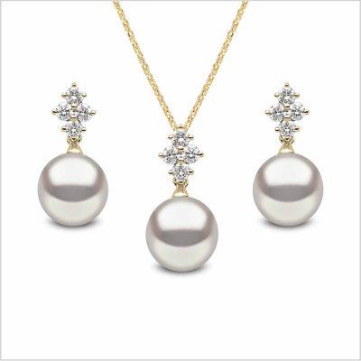 Yoko London Classic Freshwater Pearl and Diamond Earring and Pendant Set