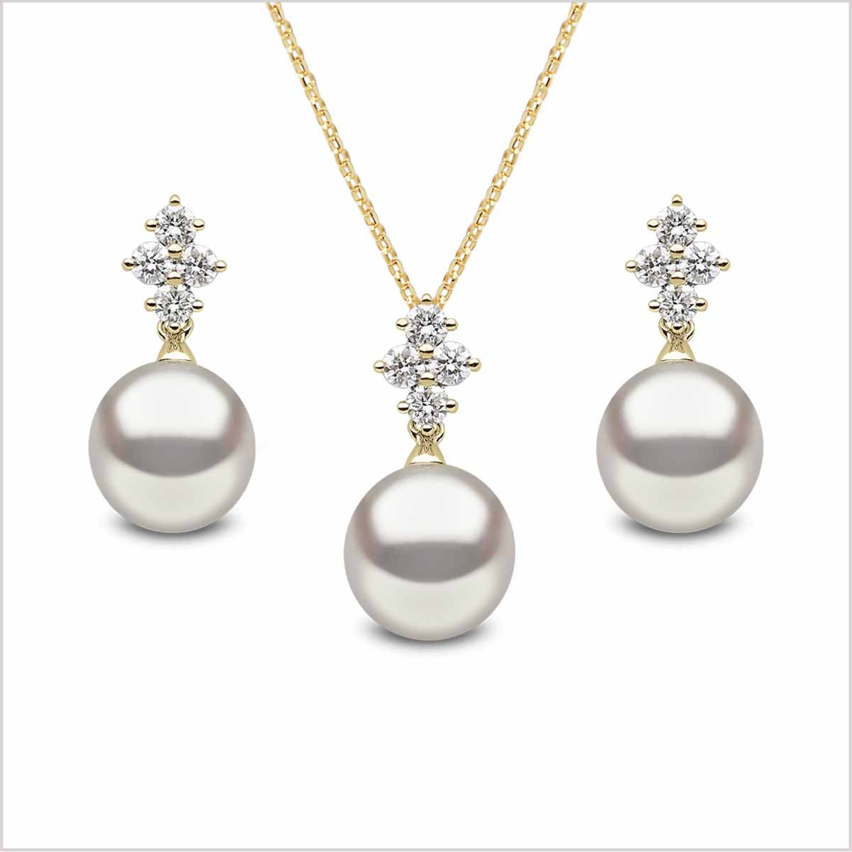 Yoko London Classic Freshwater Pearl and Diamond Earring and Pendant Set