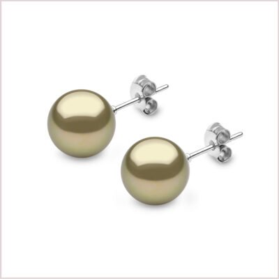 Yoko London Classic Pistachio Coloured Tahitian Pearl Stud Earrings