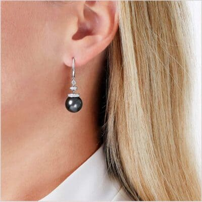 Yoko London Novus Tahitian Pearl and Diamond Earrings - QYE2008-702
