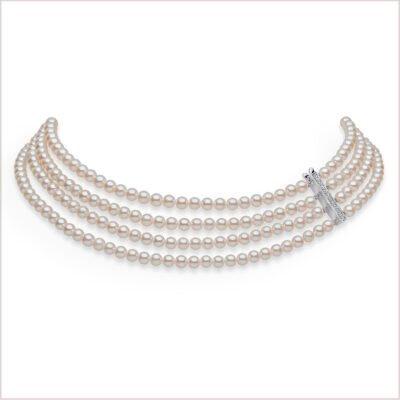 Yoko London Classic Akoya Pearl & Diamond Choker Necklace