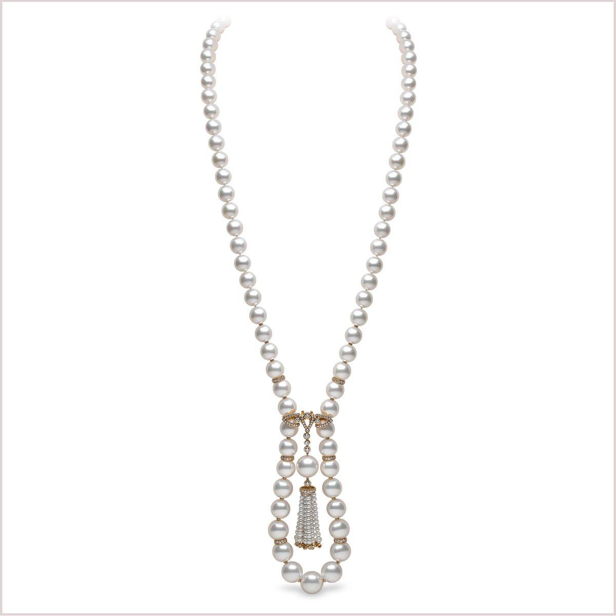 Yoko London Tassel Diamond, South Sea pearl and Freshwater Pearl Necklace