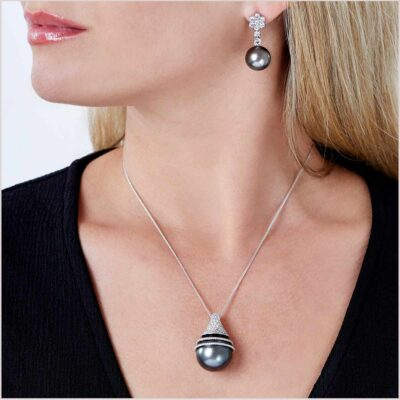 Yoko London Twilight Diamond and Tahitian Pearl Pendant