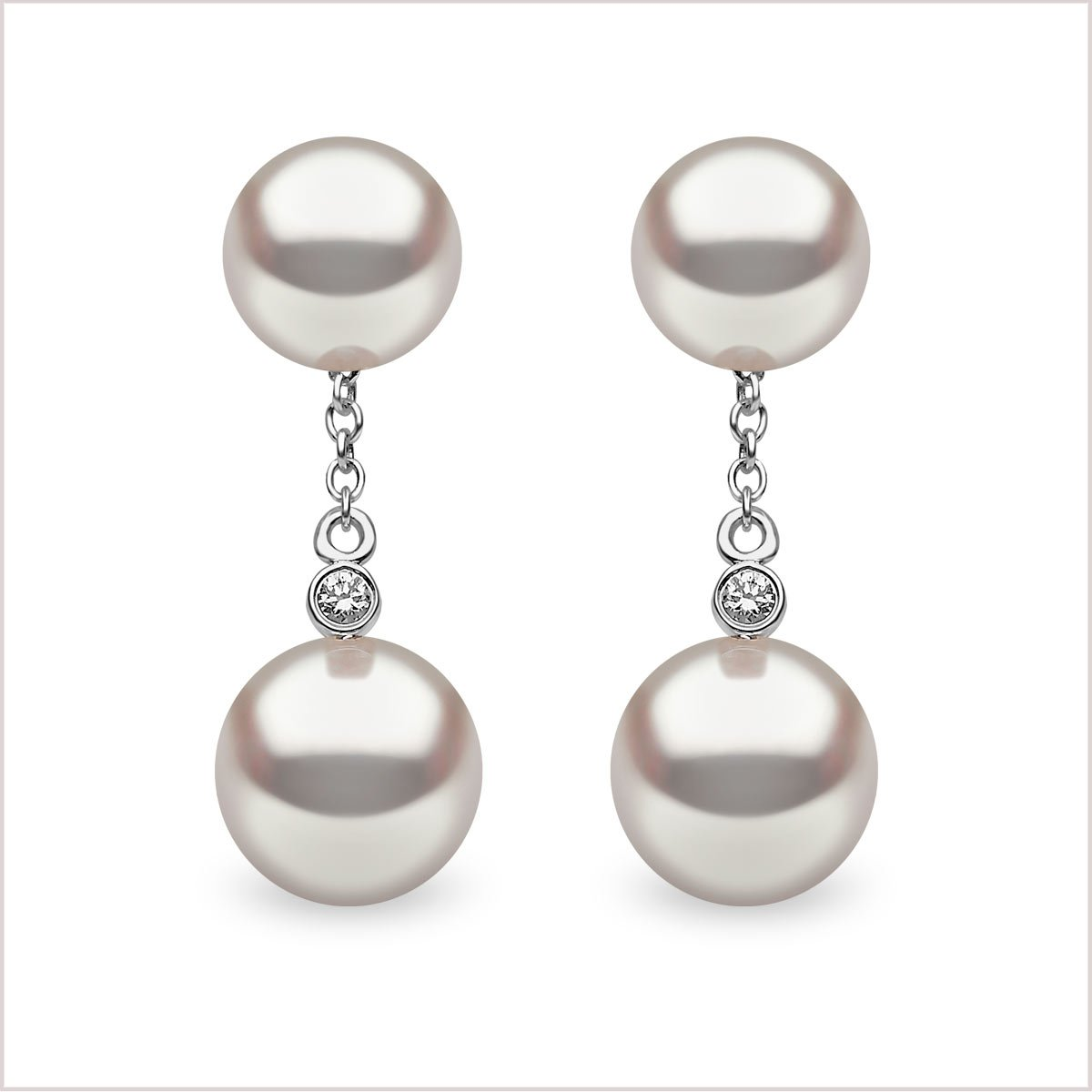 Yoko London Classic Akoya Pearl & Diamond Earrings