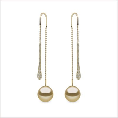 Yoko London Novus Diamond & Golden South Sea Pearl Earrings