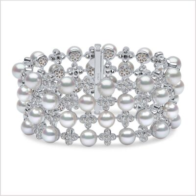 Yoko London Raindrop Diamond and Akoya Pearl Bracelet