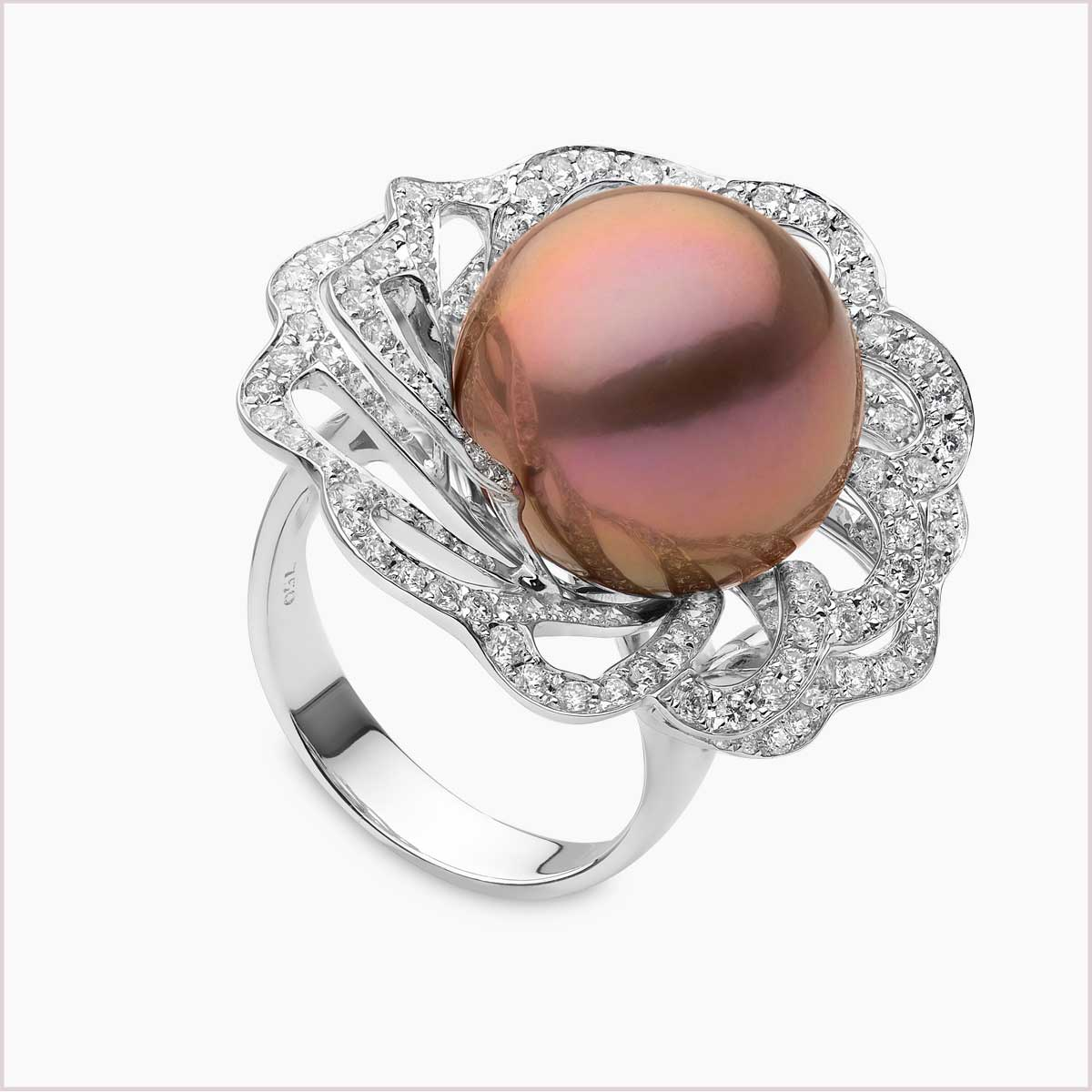 Yoko London Radiant Orchid Pink Freshwater Pearl and Diamond Ring