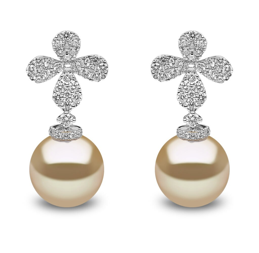 Yoko London Petal Golden South Sea Pearl and Diamond Earrings