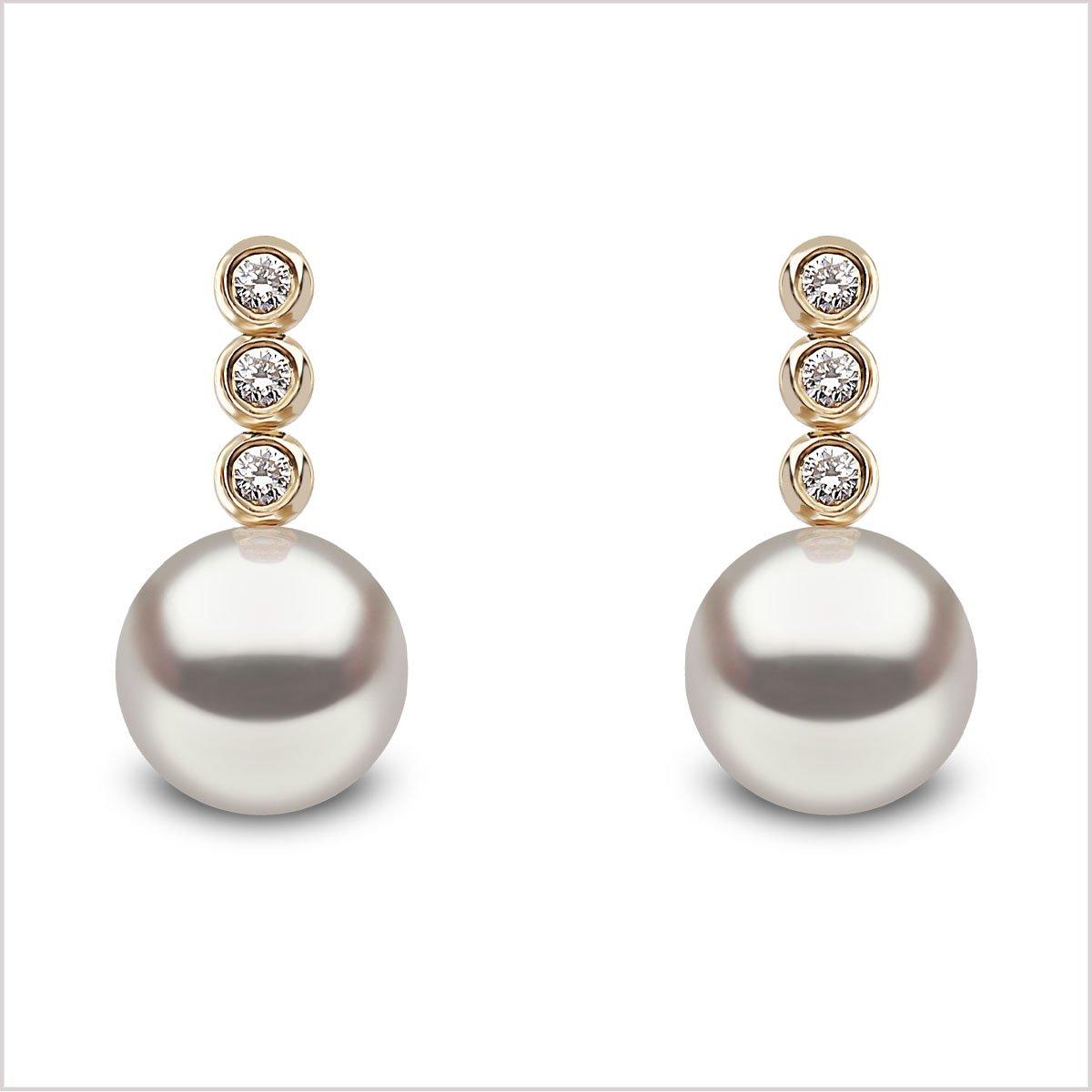 Yoko London Classic Freshwater Pearl & Diamond Earrings